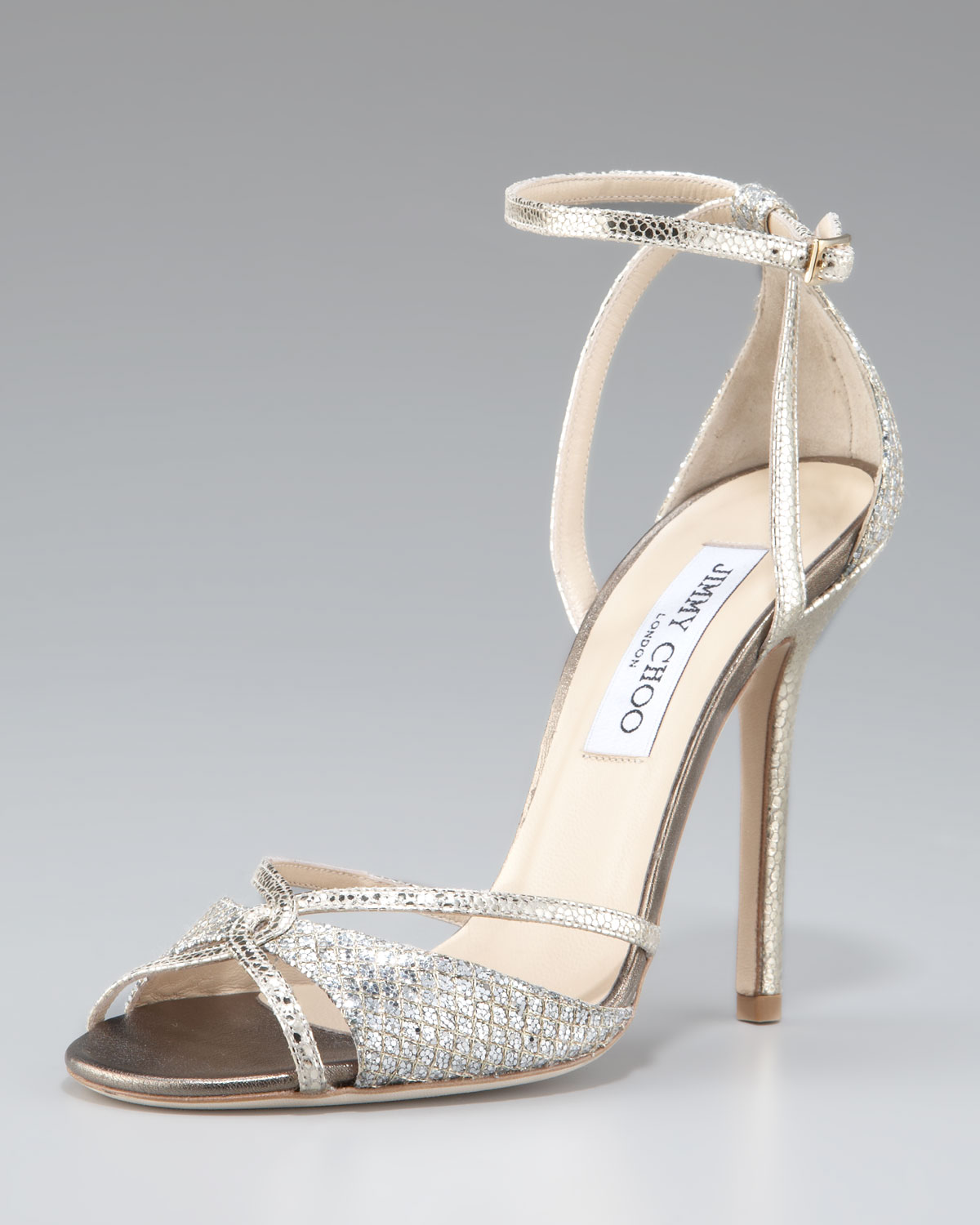 Jimmy Choo Metallic Ankle-Strap Wedges professional cheap price lTAReIky