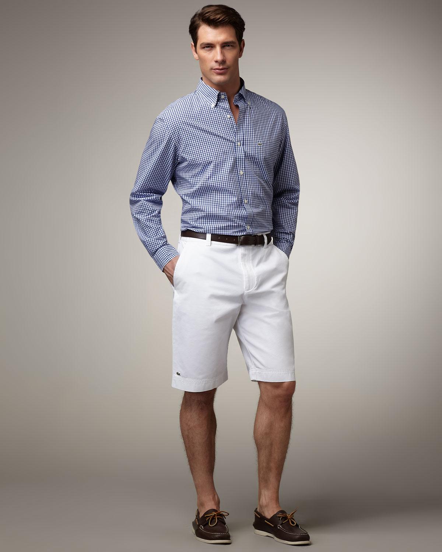 lacoste classic bermuda shorts white in white for men lyst