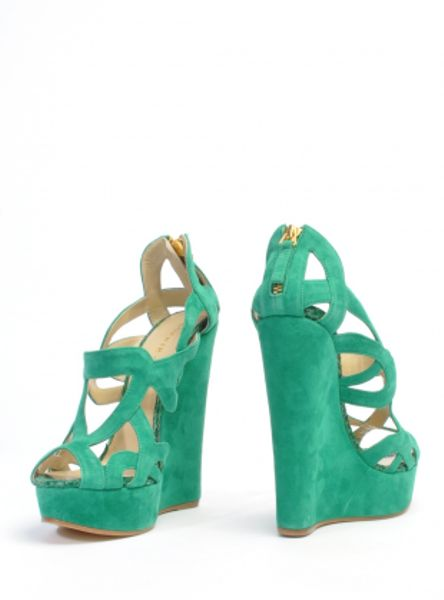 Sophie Gittins Iona Wedges In Emerald Green By Sophie