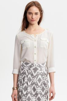 Banana Republic Heritage Silk Gold Button Shirt - Lyst
