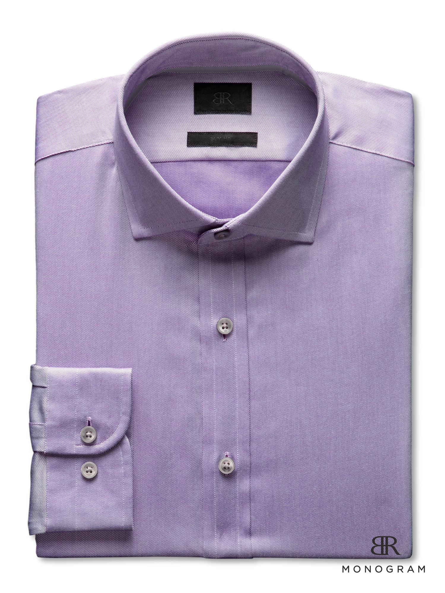 Banana republic br monogram dress shirt in purple for men for Initials on dress shirts