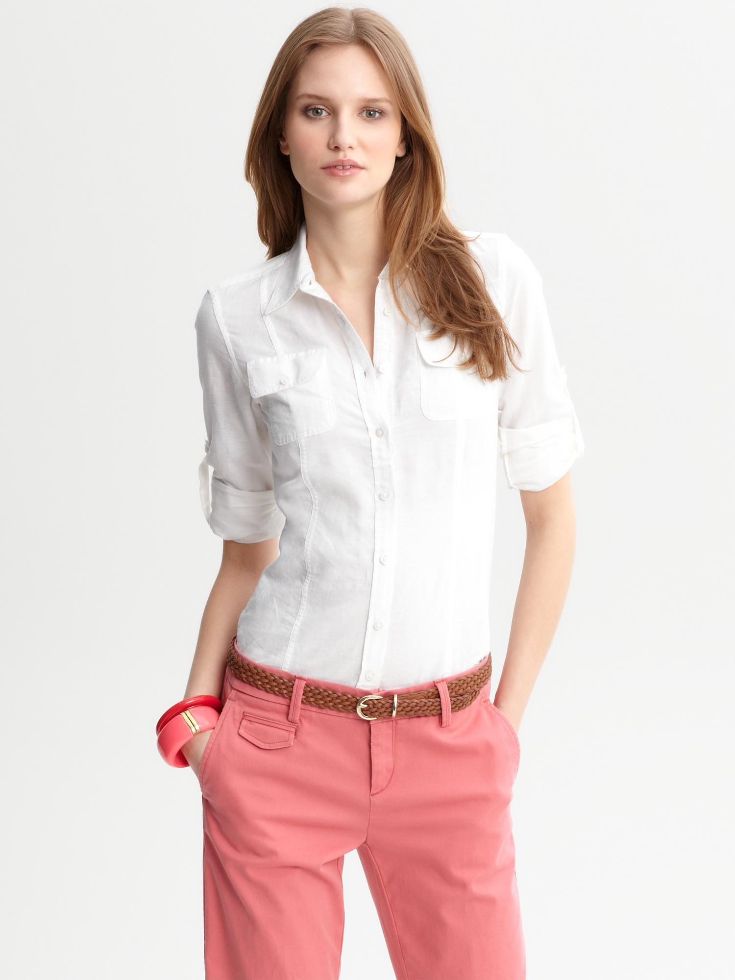 Republic linen cotton chambray button down shirt in white lyst