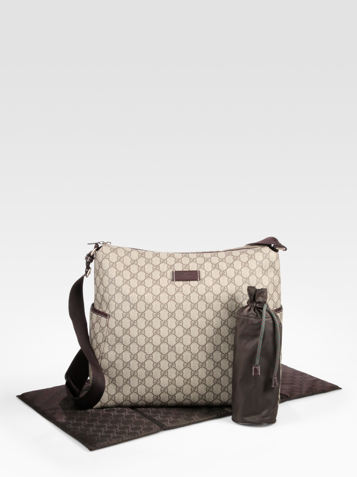 lyst gucci diaper bag in brown. Black Bedroom Furniture Sets. Home Design Ideas