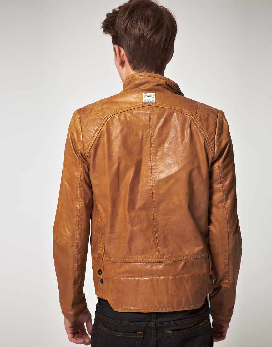 g star raw gstar brando leather jacket in brown for men lyst. Black Bedroom Furniture Sets. Home Design Ideas