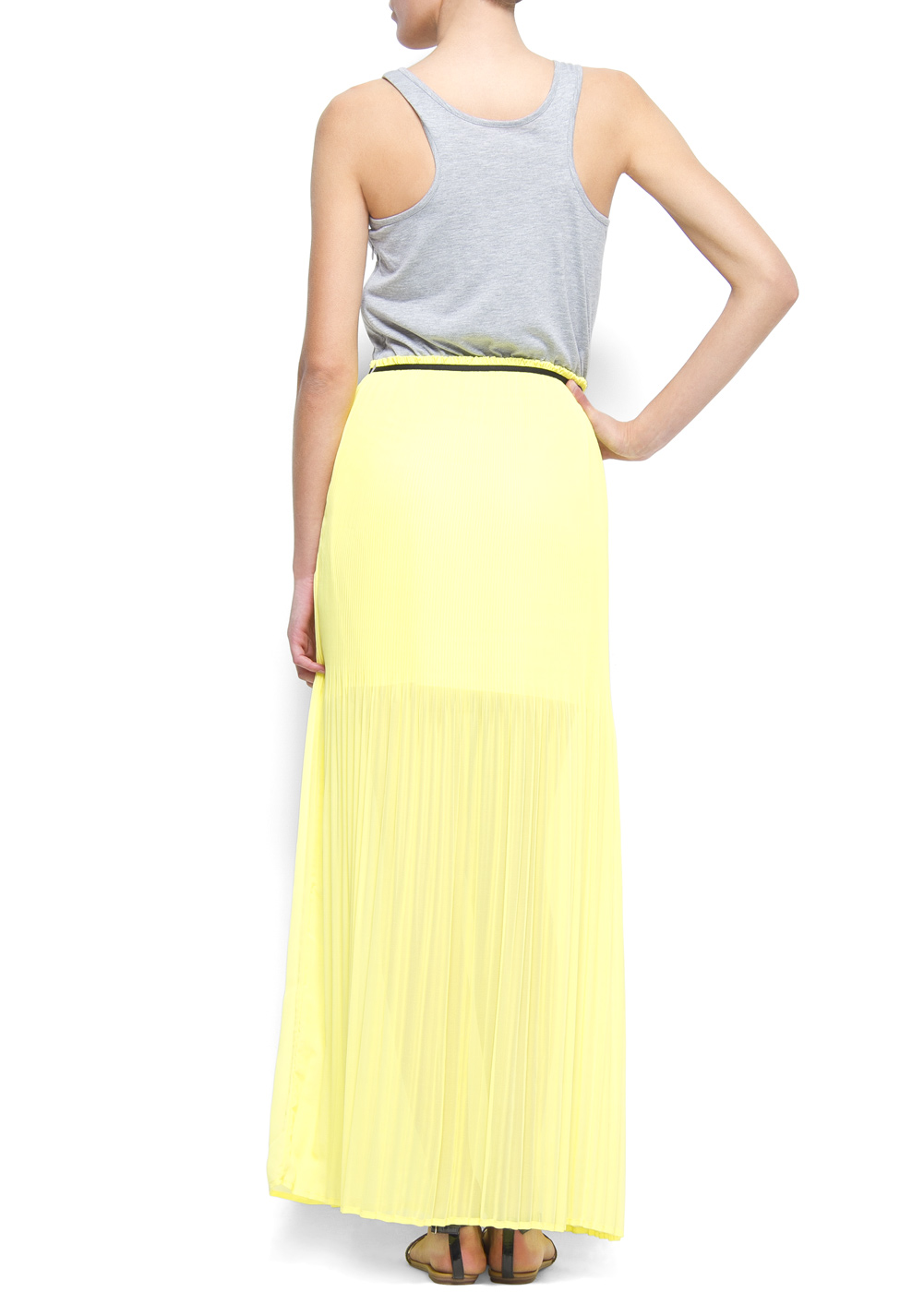 Mango combi maxi dress yellow