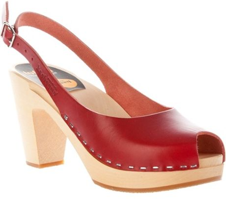 Swedish Hasbeens Peep toe Sling backs in Red