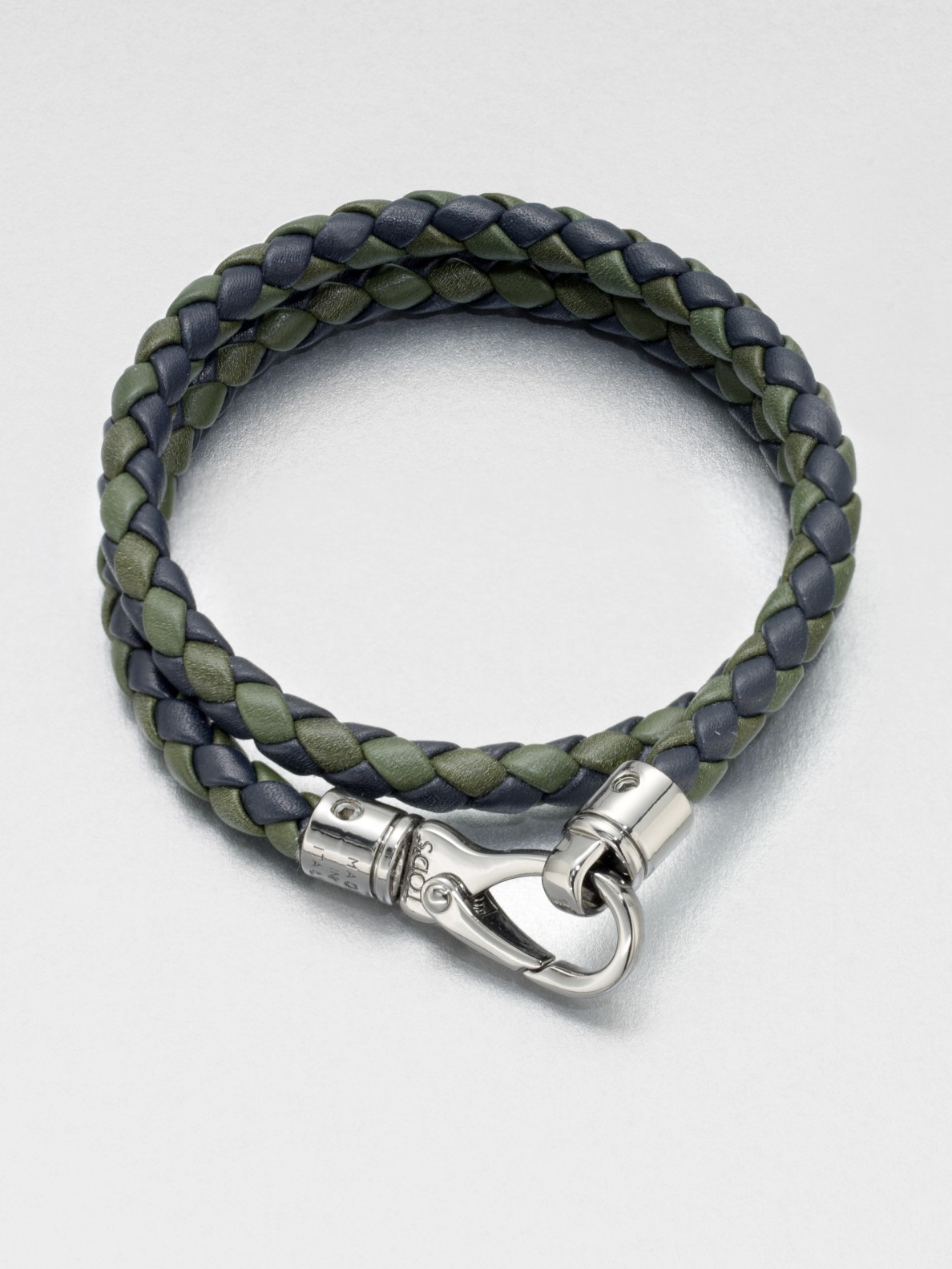 Tod S Braided Leather Bracelet In Green For Men Lyst