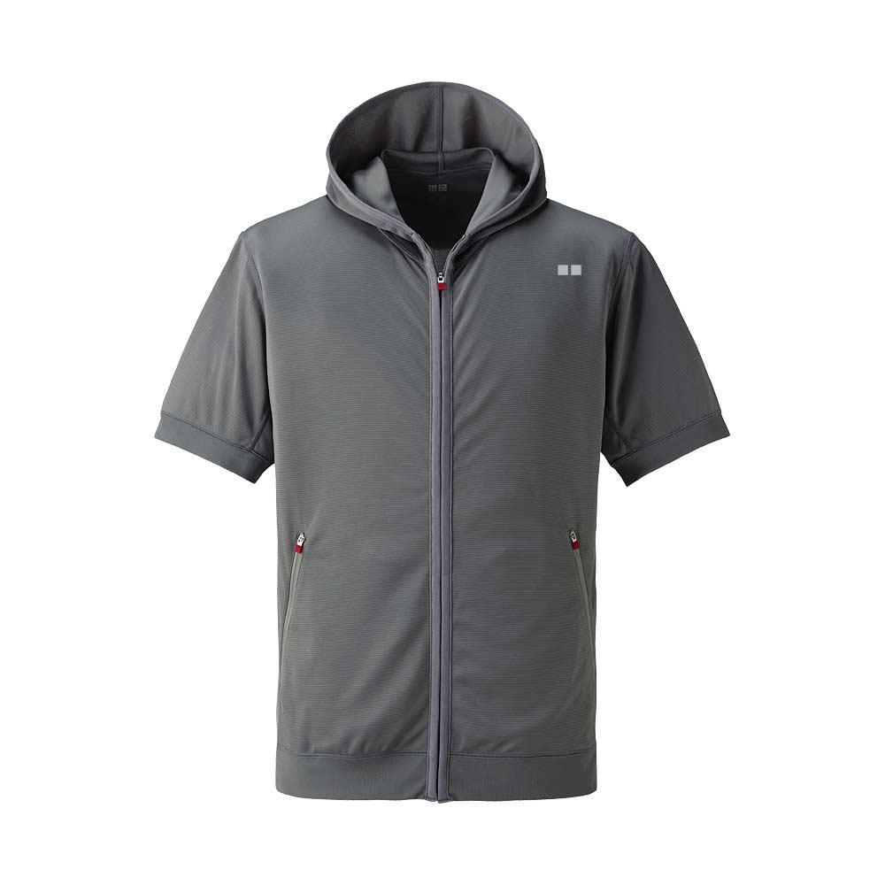 Uniqlo Men Dry Mesh Full Zip Short Sleeve Hoodie in Gray ...
