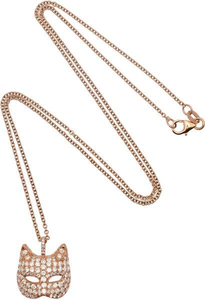 Anita Ko 18karat Rose Gold Diamond Cat Mask Necklace In