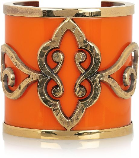 Emilio Pucci Goldplated Plexiglass Cuff in Orange (gold)