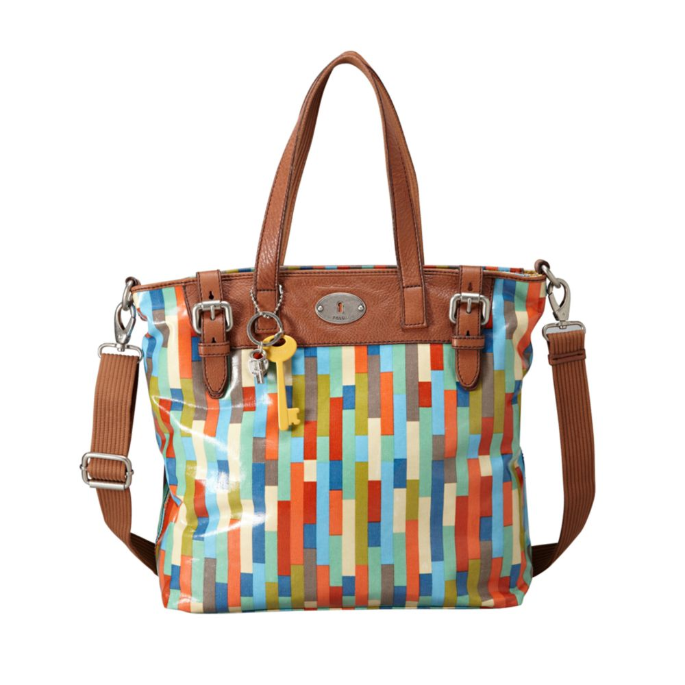 Fossil Vintage Keyper Coated Canvas Tote in Multicolor ...