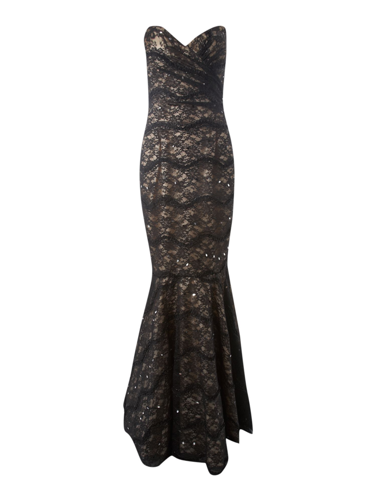 Js Collections Strapless Lace Velvet Fish Tail Dress In