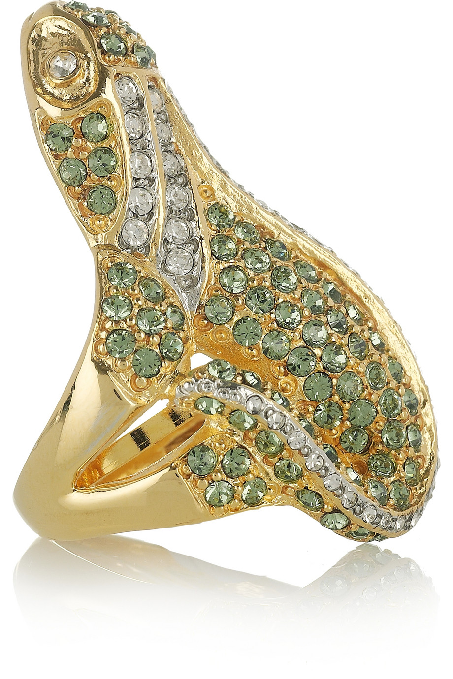 lyst kenneth jay lane 22karat goldplated crystal iguana ring in green. Black Bedroom Furniture Sets. Home Design Ideas