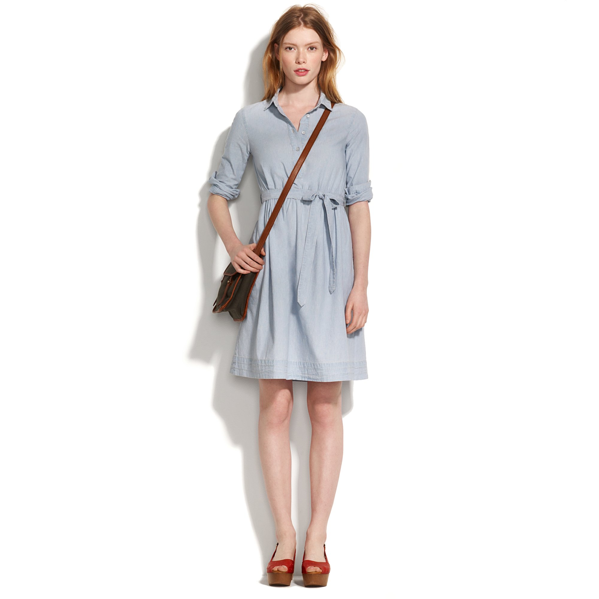 Madewell chambray shirt dress in blue mineral wash lyst for Chambray dress