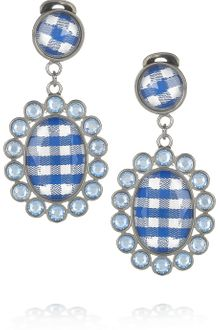 Miu Miu Gingham and Plexiglass Crystal Clip Earrings - Lyst