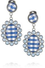 Miu Miu Gingham and Plexiglass Crystal Clip Earrings