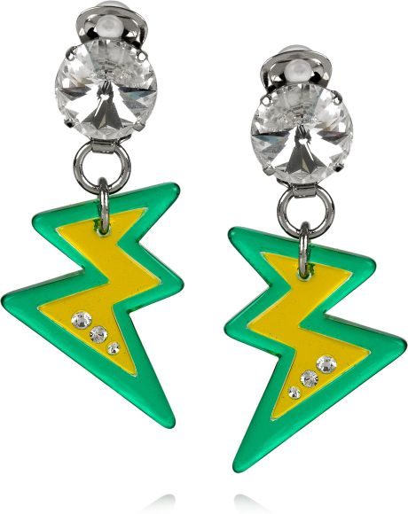 Miu Miu Plexiglass Crystal Lightning Bolt Clip Earrings in Green (silver) - Lyst