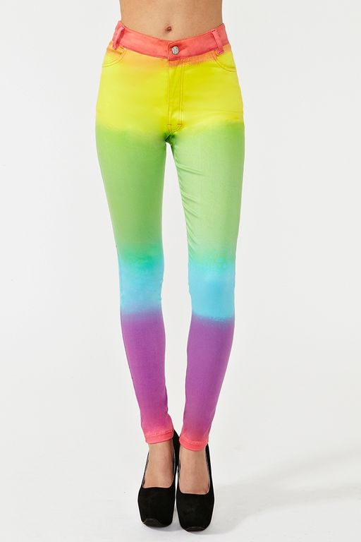 Nasty Gal Jordan Skinny Jeans Rainbow in Multicolor (red)