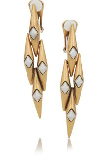 Oscar de la Renta 24karat Gold-Plated Link Clip Earrings - Lyst