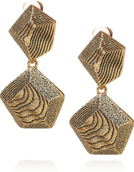 Oscar De La Renta 24karat Goldplated Woodeffect Clip Earrings in Gold - Lyst