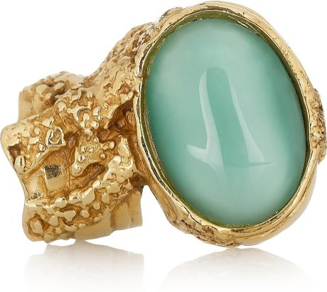 saint laurent arty goldplated glass ring in blue aqua lyst. Black Bedroom Furniture Sets. Home Design Ideas