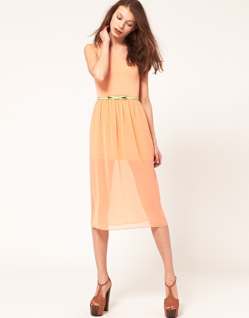 Asos Collection Asos Peplum Top In Sequin In Natural: Asos Collection Asos Midi One Shoulder Dress With Belt In