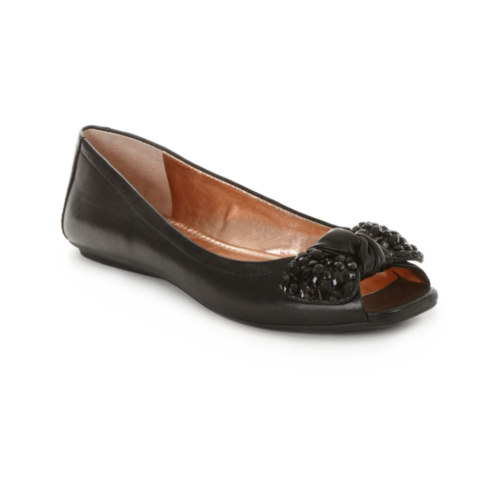 Bcbgeneration Channah Peep Toe Flats In Black Lyst
