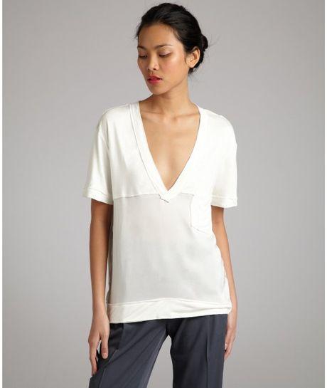 White Silk Short Sleeve Blouse