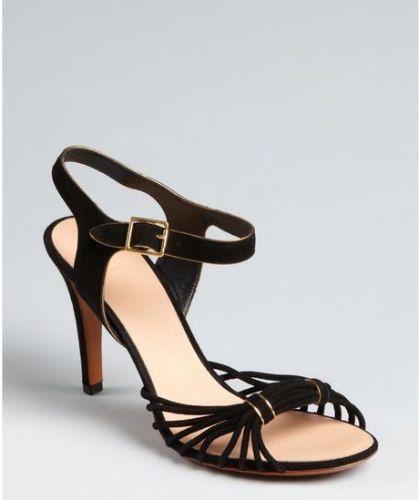 Celine Black Knotted Suede Ankle Strap Heels in Black - Lyst