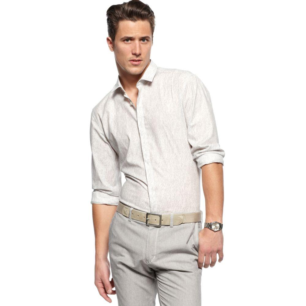 Hugo boss orien slim fit print shirt in white for men for Hugo boss slim fit dress shirt