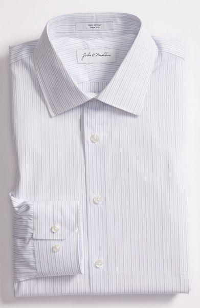 John W. Nordstrom® Trim Fit Dress Shirt in White for Men (blue)