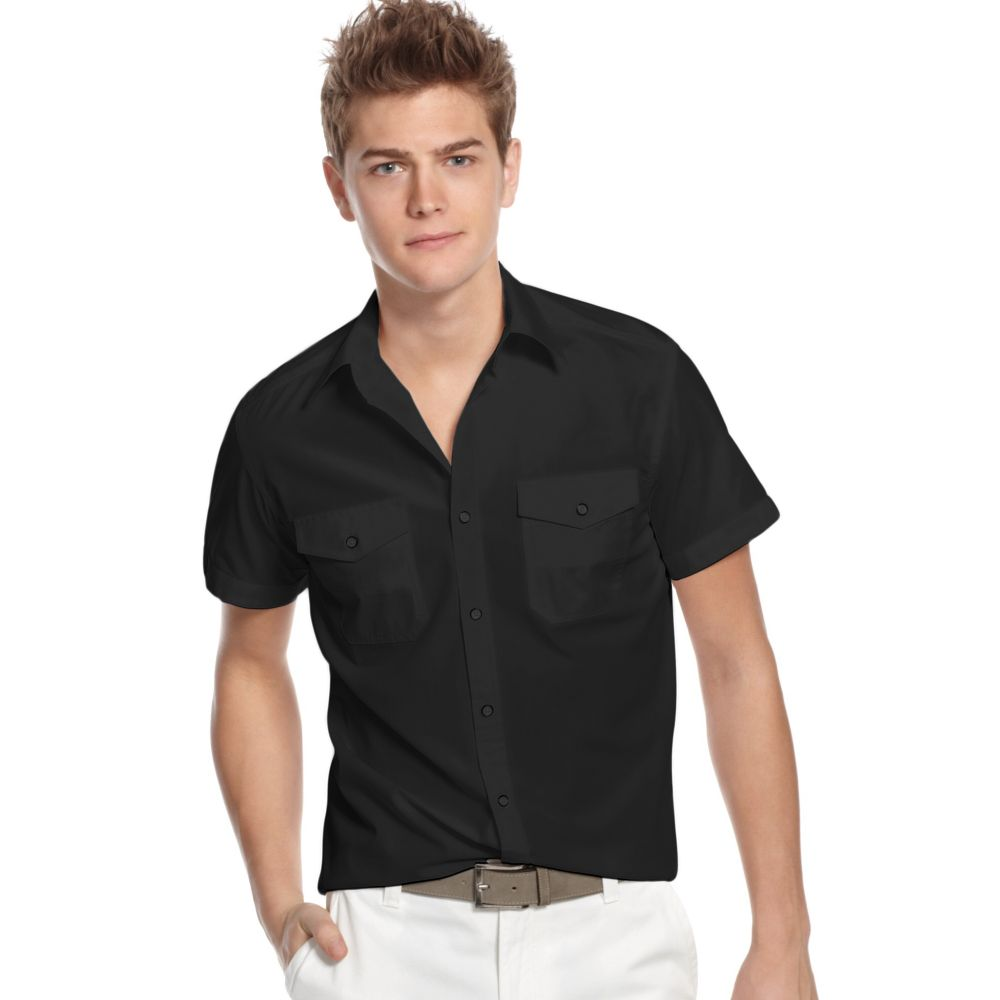 Kenneth cole reaction short sleeve two pocket solid shirt for Mens two pocket short sleeve shirts