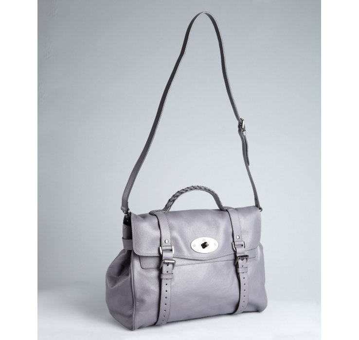 80c59fb75f93 ... buy lyst mulberry grey buffalo leather alexa oversized satchel in gray  16d5f 6e5d4