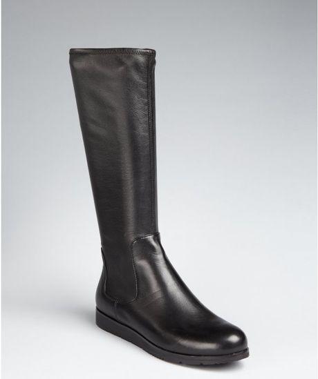 prada prada sport black leather side zip boots in black lyst