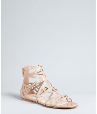 Prada Nude Patent Leather Cage Sandals - Lyst