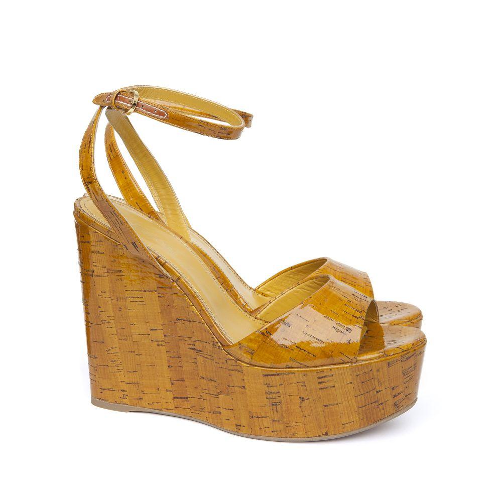 sergio cork platform wedge sandals in yellow lyst