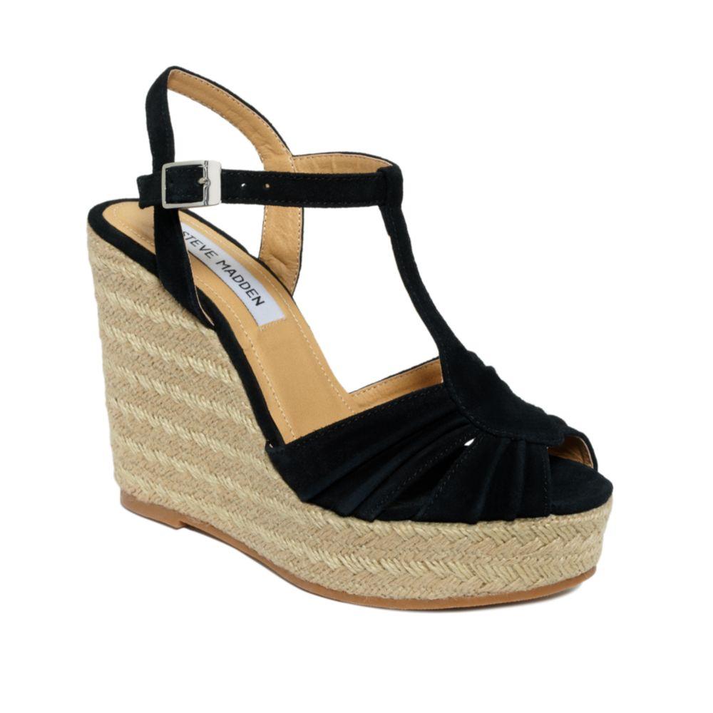 b162ec4b2d8 Lyst - Steve Madden Mammbow Wedge Sandals in Black