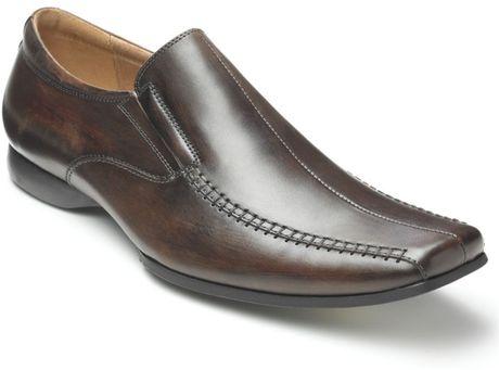 steve madden carano slipon dress shoes in brown for lyst