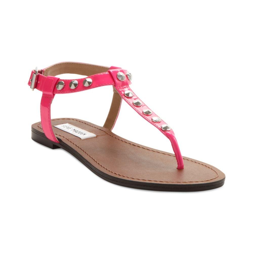 steve madden virrtue flat sandals in pink neon pink lyst