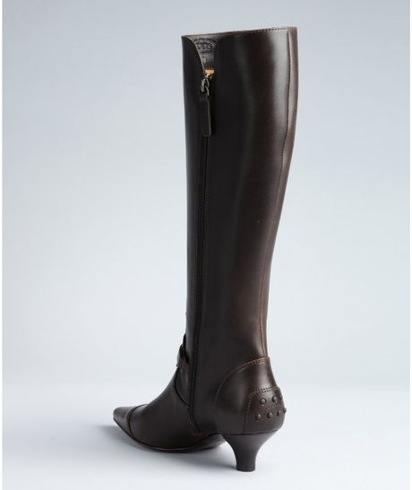 tod s coffee leather kitten heel boots in brown coffee