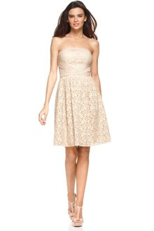 Vince Camuto Strapless Lace Pleated Aline - Lyst
