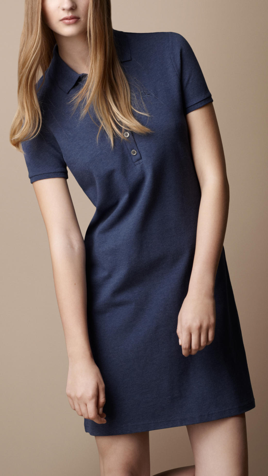 c5385fc8f380 Burberry Brit Cotton Pique Polo Dress in Blue - Lyst