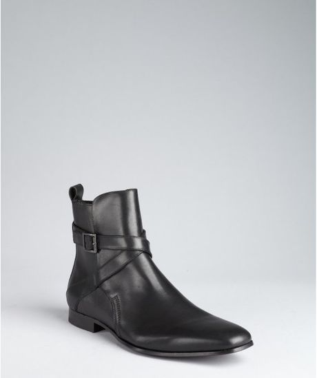 kenneth cole black leather board member buckle ankle boots