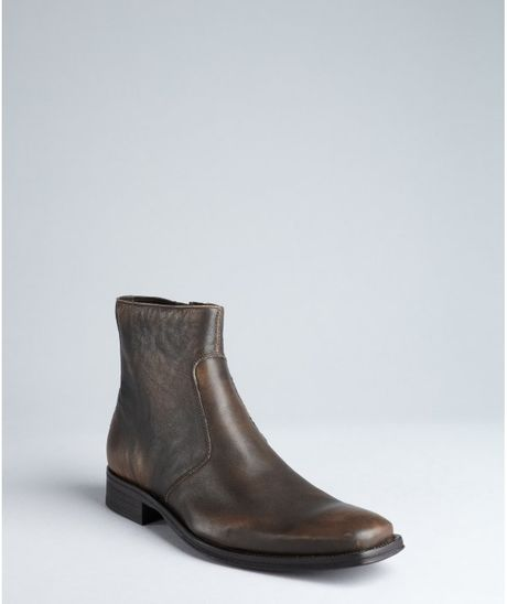 kenneth cole brown leather clean cut ankle boots in brown