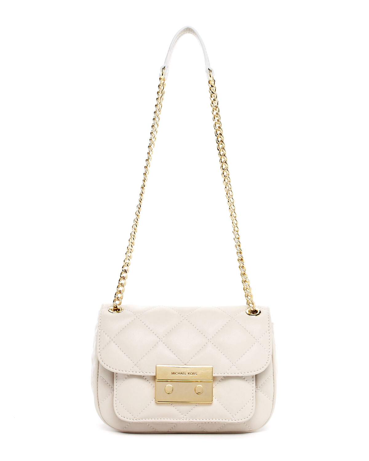 Michael Kors Sloan Small Quilted Shoulder Bag In White Lyst