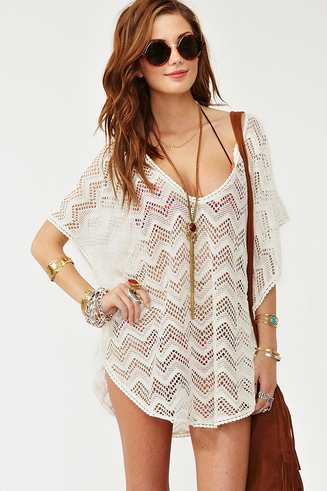 Fashion Book Cover Ups : Lyst nasty gal muse crochet top in white