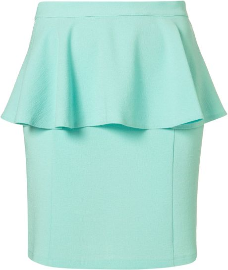 Topshop Textured Peplum Skirt in Green (mint)