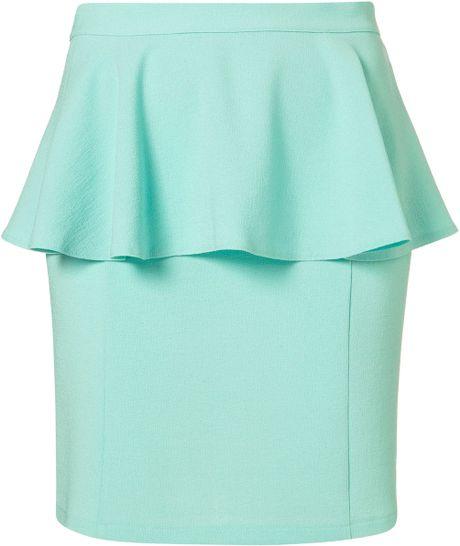Topshop Textured Peplum Skirt in Green (mint)