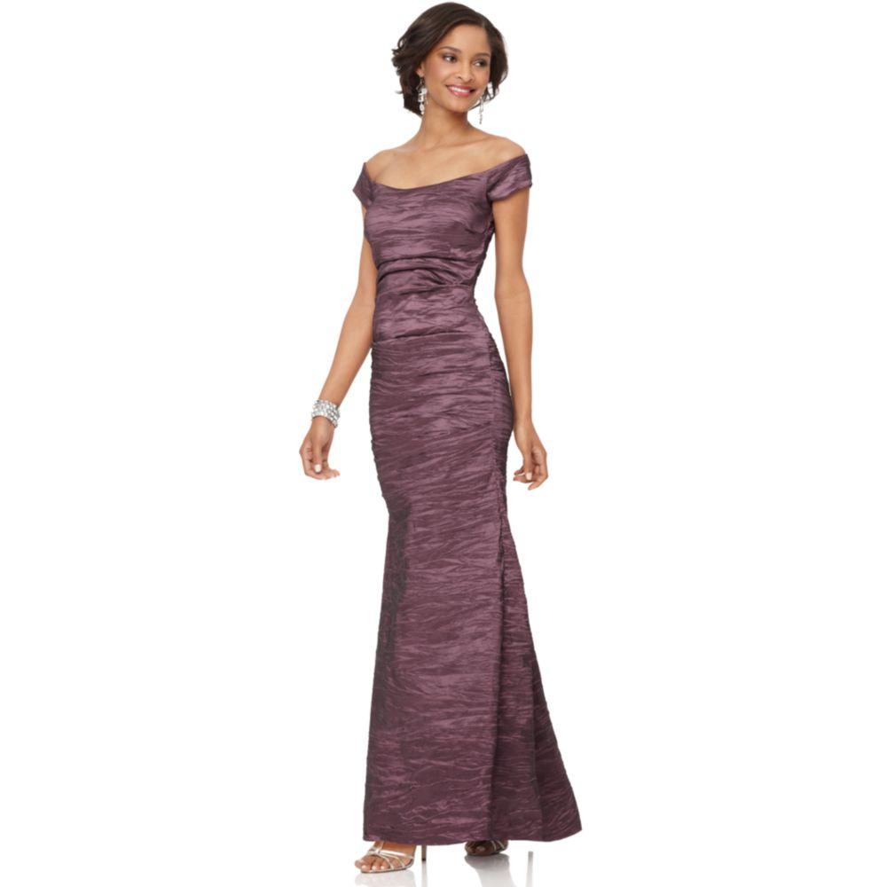 Lyst - Alex Evenings Off The Shoulder Taffeta Evening Gown in Purple