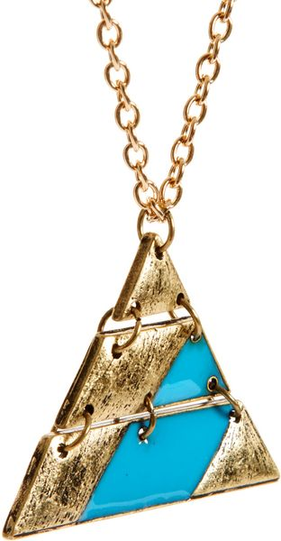 Asos Asos Aztec Triangle Pendant Necklace In Blue For Men
